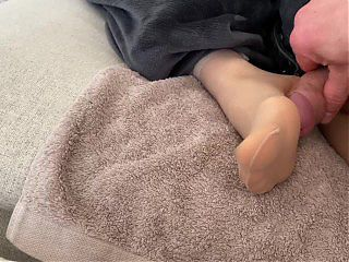 JOSSIE\u2019S CLOSE UP RIPPED NYLON \/ PANTYHOSE FOOTJOB